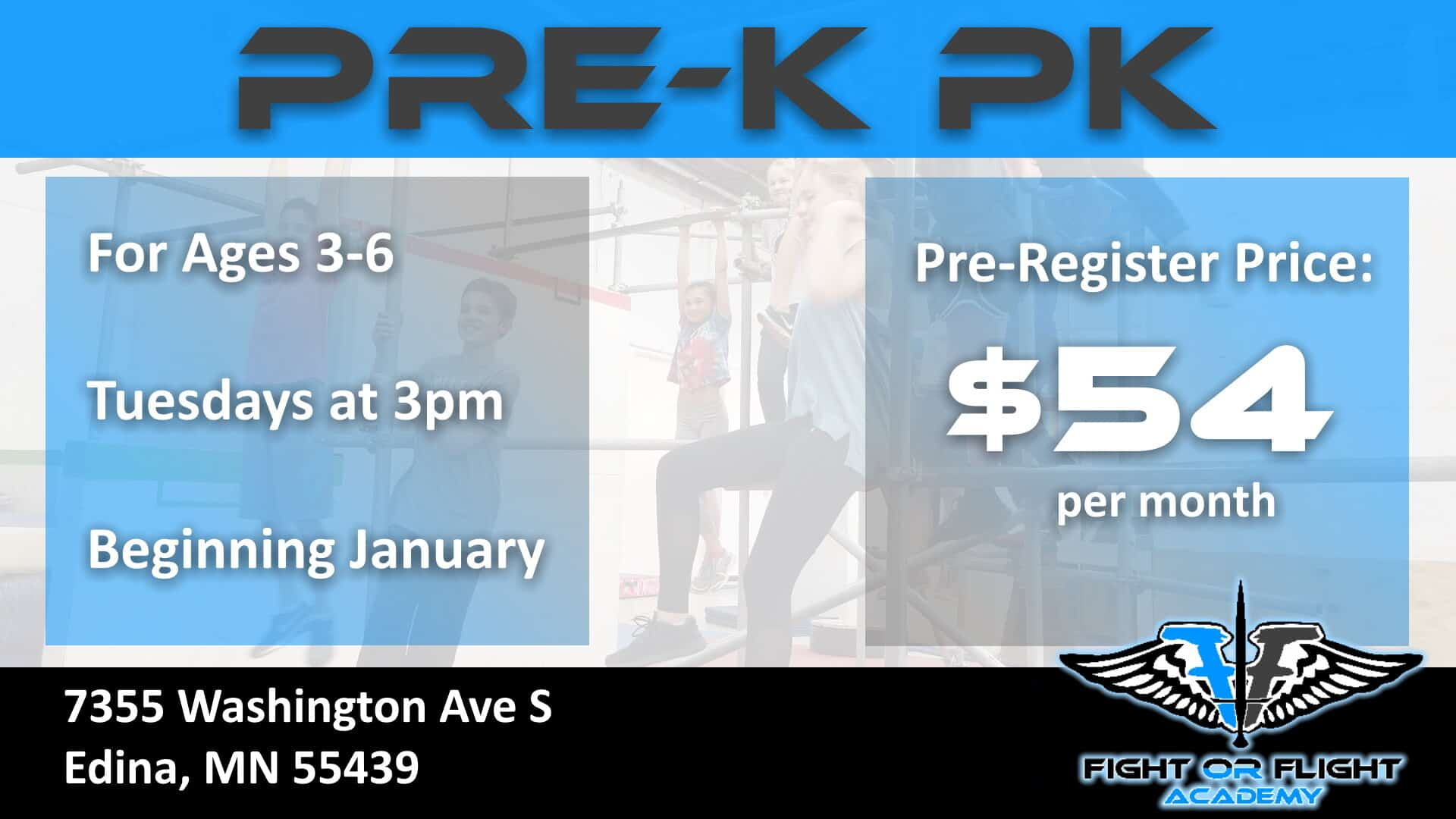New Pre-K Parkour Class for Ages 3-6 Beginning January